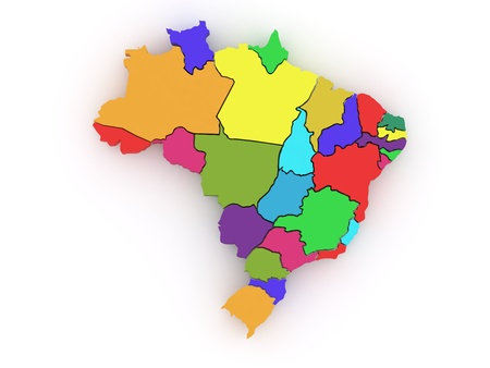 Three-dimensional map of Brazil on white isolated background. 3d Stock Photo - 8500951