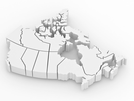 canada: Three-dimensional map of Canada on white isolated background. 3d Stock Photo