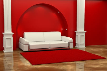 Inteiror. Sofa between the columns in red room. 3d Stock Photo - 8500998
