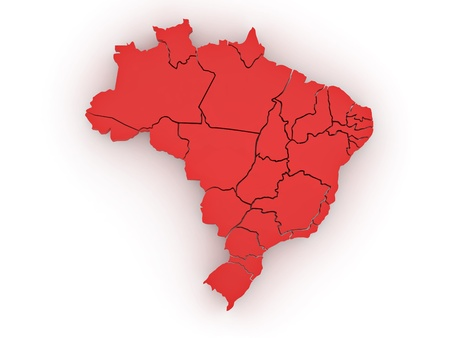 Three-dimensional map of Brazil on white isolated background. 3d Stock Photo - 8500950