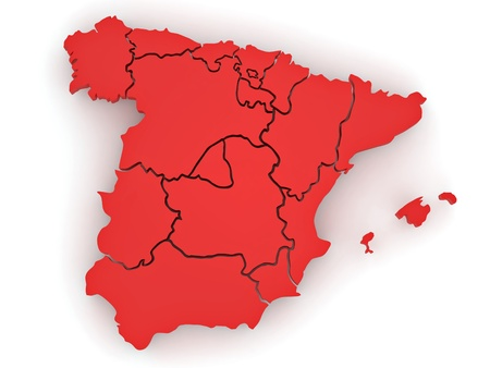 Three-dimensional map of Spain on white isolated background. 3d photo
