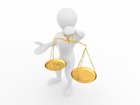 Man with scale. Symbol of justice. 3d Stock Photo - 8500943