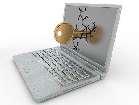Password hacked. Key in laptop on white isolated background. 3d Stock Photo - 8563303