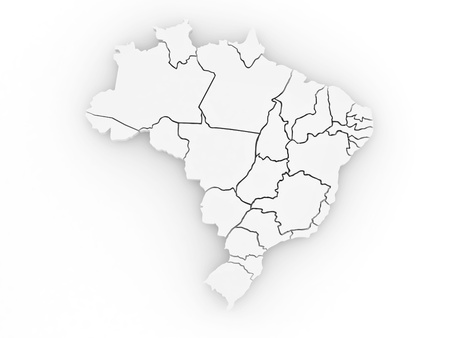 Three-dimensional map of Brazil on white isolated background. 3d Stock Photo - 8563260