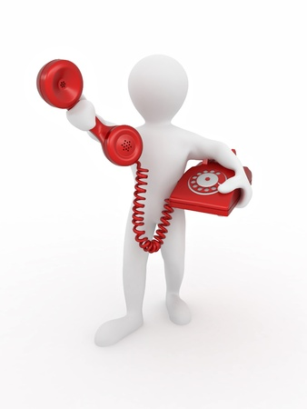 3d person: Man holding a telephone receiver on white isolated background. 3d Stock Photo