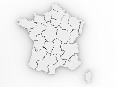 Three-dimensional map of France on white isolated background. 3d Stock Photo - 8563267