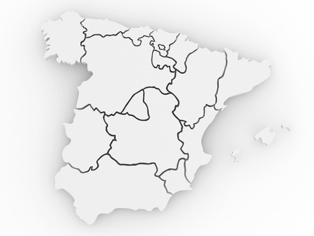 spain map: Three-dimensional map of Spain on white isolated background. 3d