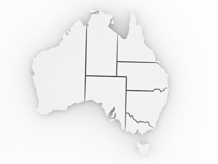 Three-dimensional map of Australia on white isolated background. 3d Stock Photo - 8563256