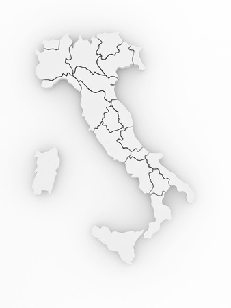Three-dimensional map of Italy on white isolated background. 3d Stock Photo - 8563257