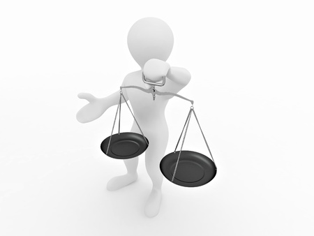 trial balance: Man with scale. Symbol of justice. 3d