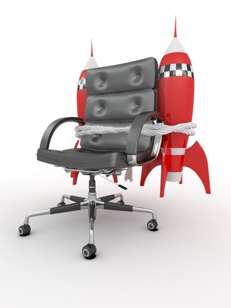 Career opportunities. Office armchair with rockets.3d photo