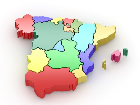 Three-dimensional map of Spain on white isolated background. 3d Stock Photo - 8563296