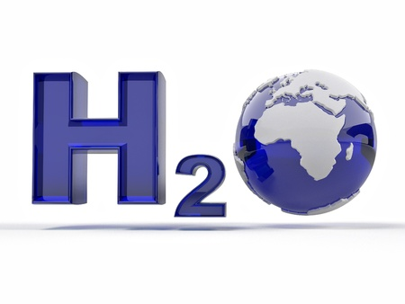 H2O. Formula of water on white isolated background. 3d photo
