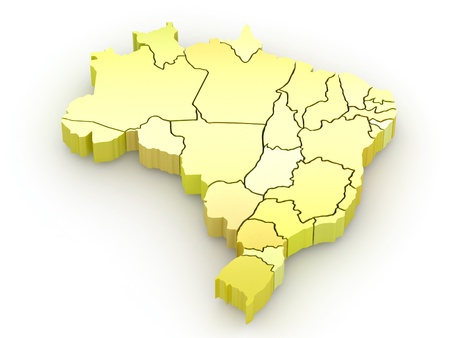 Three-dimensional map of Brazil on white isolated background. 3d Stock Photo - 8630375
