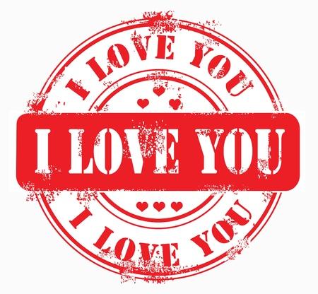 private i: Postal stamp i love you on white isolabetd background