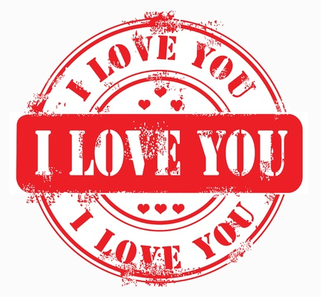 stamper: Postal stamp i love you on white isolabetd background