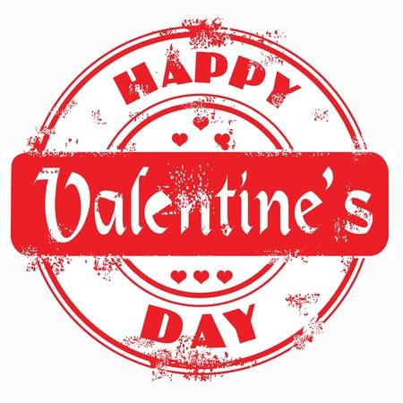 stamper: Postal stamp happy valentines on white isolabetd background