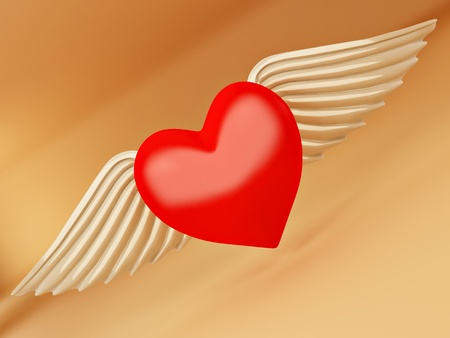 Heart and wings on yellow background. 3d photo