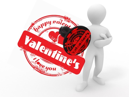 private i: men with stamp happy valentines day. 3d Stock Photo