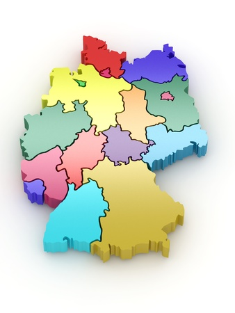 Three-dimensional map of Germany on white isolated background. 3d Stock Photo - 8667670