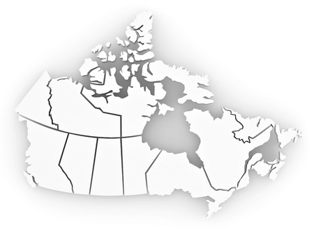 Three-dimensional map of Canada on white isolated background. 3d Stock Photo - 8667645