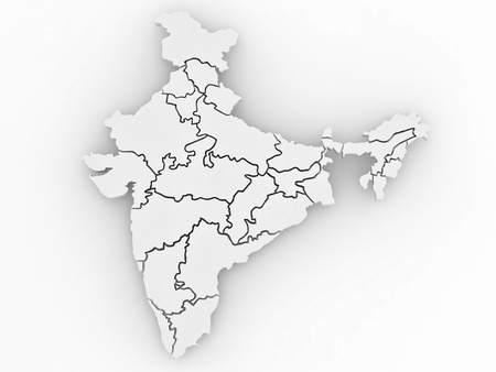 Three-dimensional map of India on white isolated background. 3d Stock Photo - 8667644