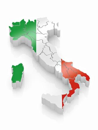 flagge auf land italien: Karte von Italien in Italian Flag Farben. 3D