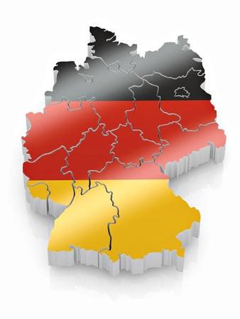 bandera de alemania: Mapa de Alemania en colores de la bandera alemana. 3D Foto de archivo