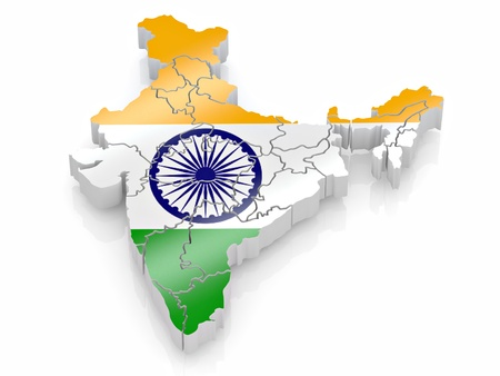 Map of India in Indian flag colors. 3d Stock Photo - 8667651