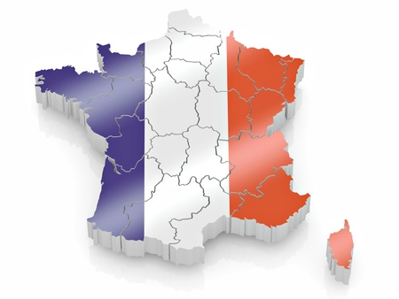cantons: Map of France in French flag colors. 3d