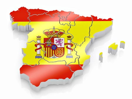 cantons: Map of Spain in Spanish flag colors. 3d