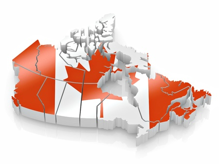 canadian state flag: Map of Canada in Canadian flag colors. 3d