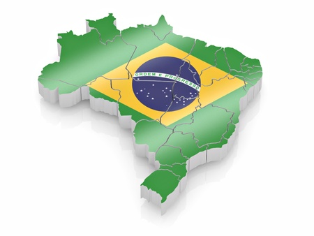 Map of Brazil in Brazilian flag colors. 3d Stock Photo - 8667653