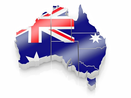 cantons: Map of Australia in Australian flag colors. 3d Stock Photo