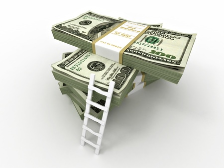 money making: Ladder on stack from dollars pack. 3d