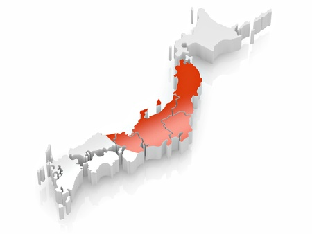 japanese flag: Map of Japan in Japanese flag colors. 3d