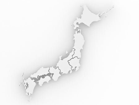 corsica: Map of Japan on white isolated background. 3d