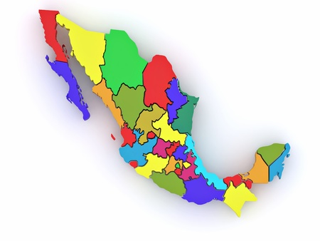 Three-dimensional map of Mexico on white isolated background. 3d Stock Photo - 8708491
