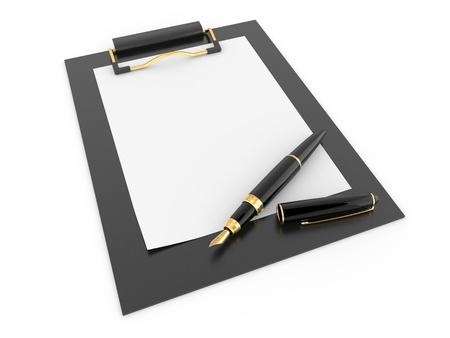clipboard: Pen on clipboard. Empty sheet of paper. 3d