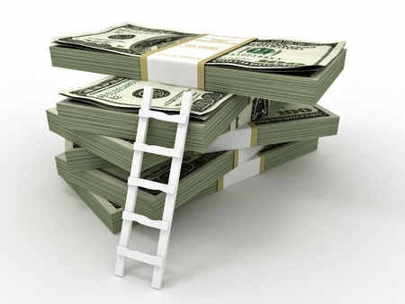 us paper currency: Ladder on stack from dollars pack. 3d