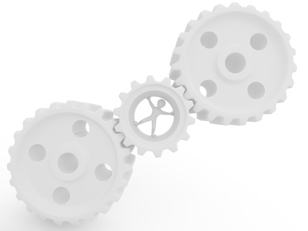 endurance: Men in gear on white isolated background. 3d