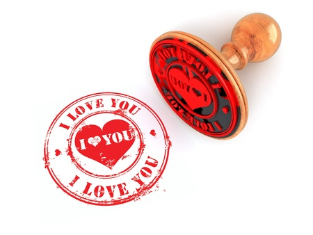 private i: Stamp i love you on white isolated background. 3d