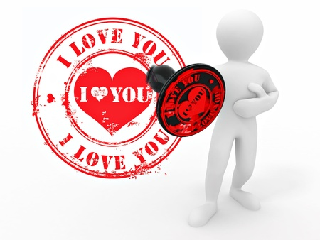 Men with stamp i love you. 3d Stock Photo - 8708510
