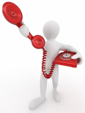customer service phone: Man holding a telephone receiver on white isolated background. 3d Stock Photo