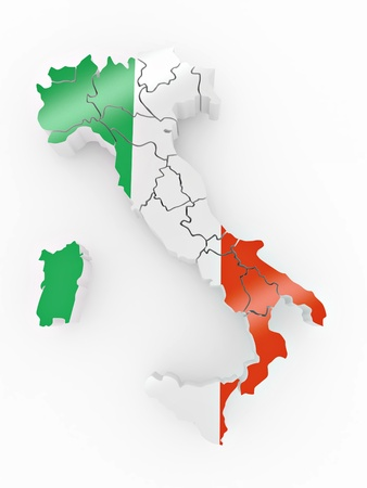 provinces: Map of Italy in Italian flag colors. 3d