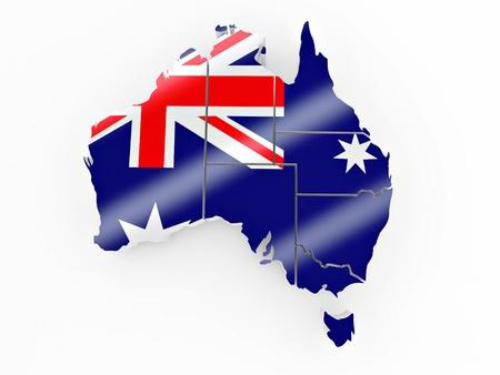 Map of Australia in Australian flag colors. 3d Stock Photo - 8779518