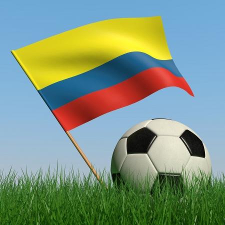 bandera de colombia: Bal�n de f�tbol en el c�sped y la bandera de Colombia contra el cielo azul. 3D Foto de archivo