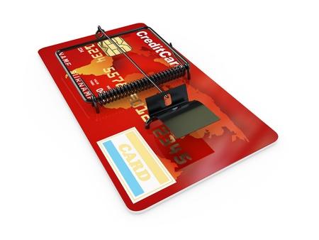 Credit card as mousetrap. Conceptual image. 3d photo