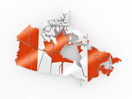 Map of Canada in Canadian flag colors. 3d photo