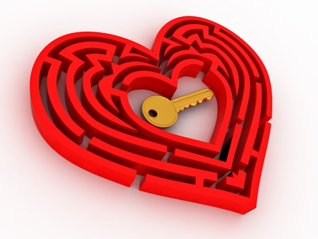 Key in the center of labyrinth in form of heart. 3d photo